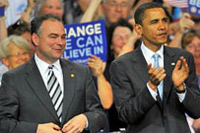 Tim Kaine and Barack Obama.
